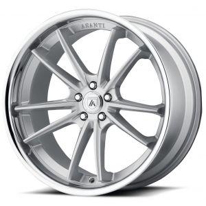 20x9 Asanti ABL-23 Brushed Silver w/ Chrome Lip