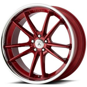 Staggered full Set - (2) 22x9 Asanti ABL-23 Candy Red w/ Chrome Lip (2) 22x10.5 Asanti ABL-23 Candy Red w/ Chrome Lip