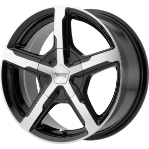 Staggered full Set - (2) 17x7 American Racing AR921 Trigger Gloss Black Machined (2) 17x8 American Racing AR921 Trigger Gloss Black Machined
