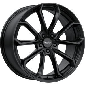 Staggered full Set - (2) 22x9 American Racing AR932 Splitter Satin Black (2) 22x10.5 American Racing AR932 Splitter Satin Black