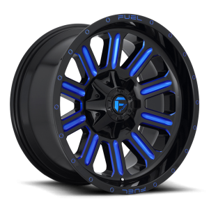 22x12 Fuel Off-Road Hardline Gloss Black w/ Candy Blue Accents D646 (* May Require Trimming)