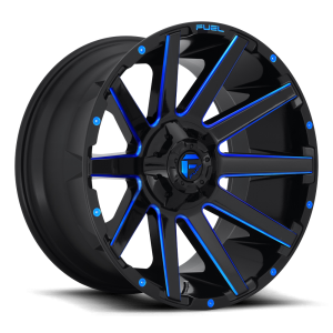 18x9 Fuel Off-Road Contra Gloss Black w/ Candy Blue Accents D644