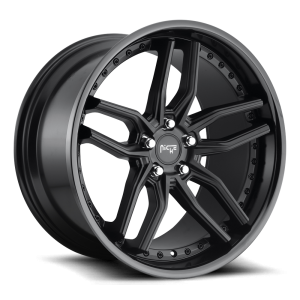 Staggered full Set - (2) 19x8.5 Niche Methos Satin Black w/ Gloss Black M194 (2) 19x9.5 Niche Methos Satin Black w/ Gloss Black M194
