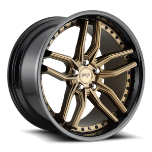 Staggered full Set - (2) 19x8.5 Niche Methos Bronze w/ Gloss Black Lip M195 (2) 19x9.5 Niche Methos Bronze w/ Gloss Black Lip M195