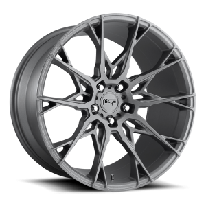 Staggered full Set - (2) 22x9 Niche Staccato Anthracite M182 (2) 22x10 Niche Staccato Anthracite M182