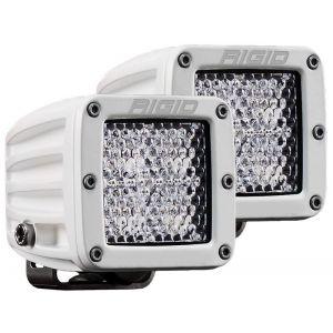 Rigid D-Series Pro White Led Cube Light Flood Diffused Beam Pair