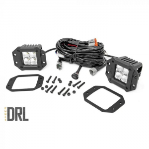 "Rough Country Cree LED Light 2"" Flush Mount Square With Amber Daytime Running Lights Pair"