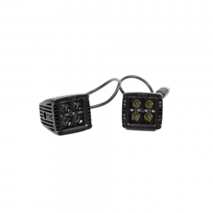 "Rough Country Cree LED Light 2"" Square Black Series With Amber Daytime Running Lights Pair"