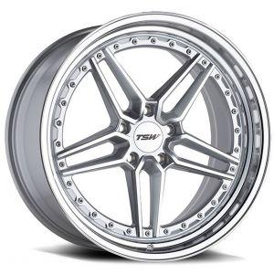 20x9 TSW Ascari Silver w/ Mirror Cut Face & Lip