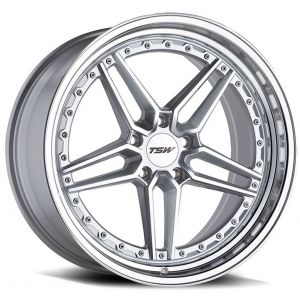 Staggered full Set - (2) 20x9 TSW Ascari Silver w/ Mirror Cut Face & Lip (2) 20x10.5 TSW Ascari Silver w/ Mirror Cut Face & Lip