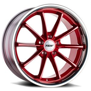 18x8.5 TSW Sweep Candy Red w/ Stainless Lip