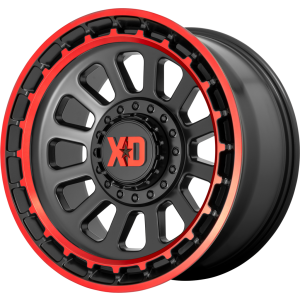 20x10 XD Series XD856 Omega Satin Black Machined Lip w/ Red Tint