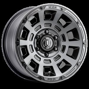 17x8.5 ICON Alloy Thrust Smoke Satin Black Tint