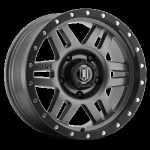 17x8.5 ICON Alloy Six Speed Gunmetal w/ Black Ring
