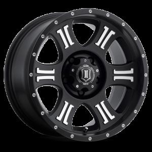 20x9 ICON Alloy Shield Satin Black w/ Machined Logos