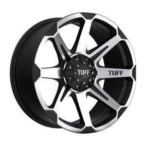 16x8 Tuff T05 FLAT BLACK W/ MACHINED FACE