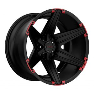 20x10 Tuff T12 SATIN BLACK W/ RED INSERTS