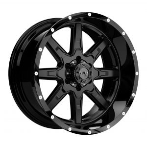 18x10 Tuff T15 GLOSS BLACK W/ MILLED SPOKES