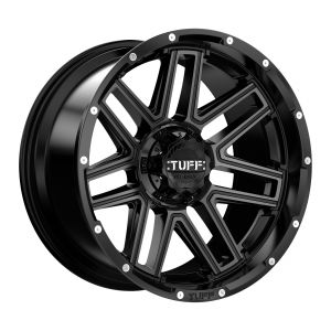 24x11 Tuff T17 GLOSS BLACK W/ MILLED SPOKES AND DIMPLES