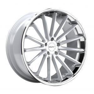 22x9 Ruff R3 GLOSS SILVER W/ STAINLESS STEEL LIP