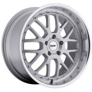 - Staggered full Set -(2) 18x8 TSW Valencia Silver w/ Mirror Lip(2) 18x9.5 TSW Valencia Silver w/ Mirror Lip