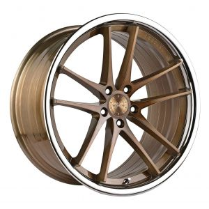 - Staggered full Set -(2) 20x9 Vertini RF1.5 Brushed Bronze w/ Chrome Lip (Rotary Forged)(2) 20x10 Vertini RF1.5 Brushed Bronze w/ Chrome Lip (Rotary Forged)