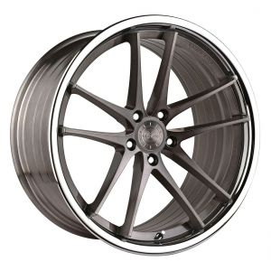 20x11 Vertini RF1.5 Brushed Titanium w/ Chrome Lip (Rotary Forged)