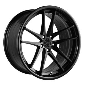 - Staggered full Set -(2) 20x10 Vertini RF1.5 Matte Black Face w/ Gloss Black Lip (Rotary Forged)(2) 20x11 Vertini RF1.5 Matte Black Face w/ Gloss Black Lip (Rotary Forged)