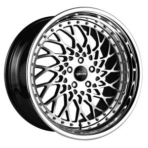 20x10 Vertini Hellfire Gloss Black Machined w/ Chrome Stainless Steel Step Lip