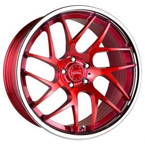 20x9 Vertini RF1.4 Brushed Red w/ Chrome Lip (True Directional)
